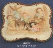 A485-Angels in Barn Nativity Plate 25 x 19cm