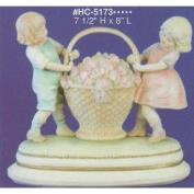 AHC5173-Victorian Children with Flower Basket 19Hx20cmL