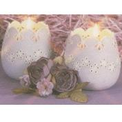D1086- 2 Lace Applique Candle Cups 8cmH with cut outs
