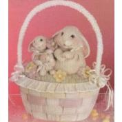 D1278-Bunny Family Lid  with Wicker & Lace Basket Bottom 21cmH