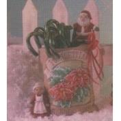 D1572-Poinsettia Seed Packet with Claus 15cmH