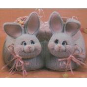 D1639 -2 Bunny Heads on D1638 Fuzzy Slipper Basket 21cmW