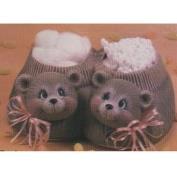 D1641 -2 Bear Heads on D1638 Fuzzy Slipper Basket 21cmW