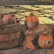D1666- 3 Homespun Pumpkins 9cmH