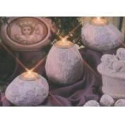 D1843ST-3 Pansy Impressions  Egg Candleholders with Candle Cups 10cmH & 15cmH