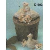 D525-Wooden Basket Candy Dish  with Lid  10cm