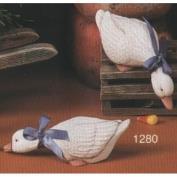 S1280- 2 Small Shelf Ducks Heads Down 14cm