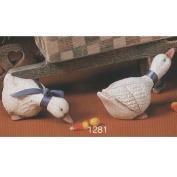 S1281- 2 Small Shelf Ducks Heads Up & Down 14cm