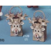 S2128- 2 Mini Reindeer Bags 8cm