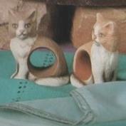 S2369- 4 Cat Napkin Rings 8cm
