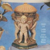 S3499A-Fluted Vase with Vase Plug & 3 Standing Cherubs 24cm (No Lid)