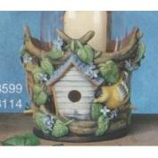 S3599-Birdhouse Hurricane with cut outs 21cmH