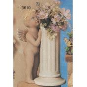 S3619-Large Cherub with Column Vase 34cmT