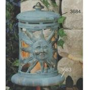 S3684-Sun & Moon Lantern with cut outs & Base 25cmT