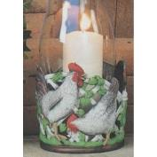 S3729-Rooster & Hen Hurricane with cut outs 18cmT