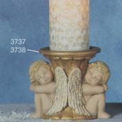 S3738-Double Cherub Candle Stick 15cmW