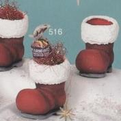 S516- 3 Santa Boot Candy Cups 8cm