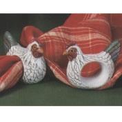 S599- 4 Hen Napkin Rings 7cm