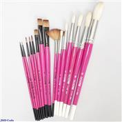 PINKBRUSHES-SET-18 Scioto Pink Handle Set of 18 Brushes
