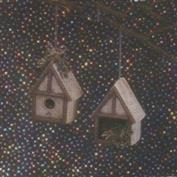 D1466 -2 Birch Bark Birdhouse Ornaments 10cm