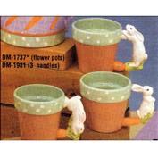 DM1981 -3 Potter Rabbit Handle Pot Mugs DM1737 -10cm Tall