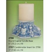 S2767 -Round Capital Candle Holder S2766 with Candle Insert 15cm Wide